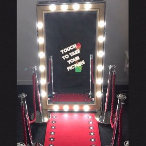 Touch screen photo booth mirror